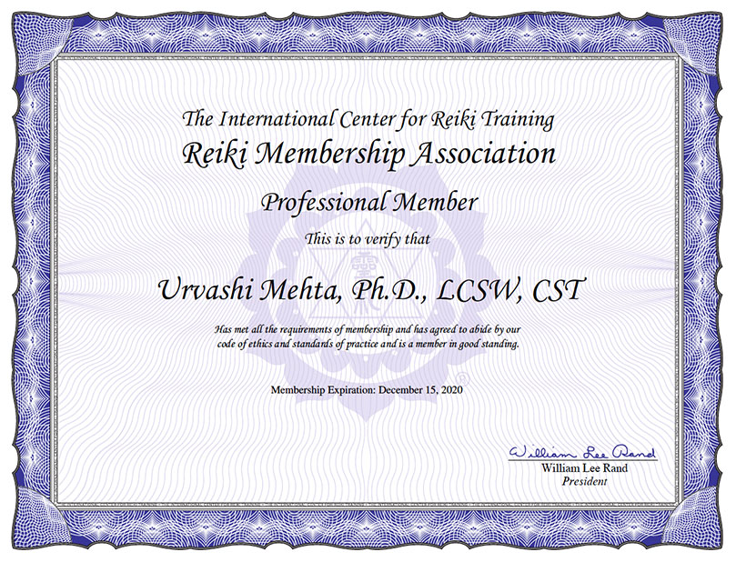 Urvashi Mehta Reiki Member Certificate